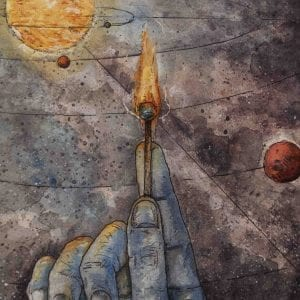 Student illustration showing hand holding a match with space in the background