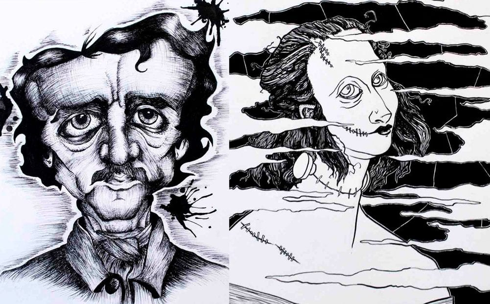 Collage of student illustrations of famous authors