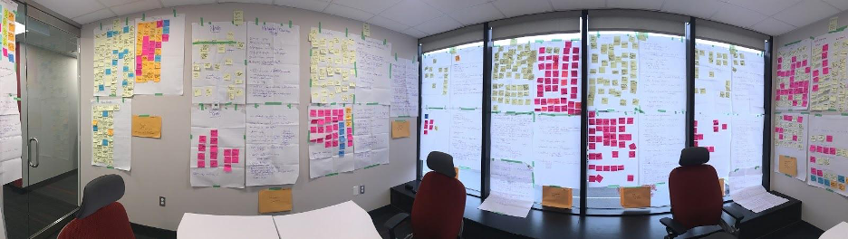 post it notes on walls and windows in panoramic view of boardroom