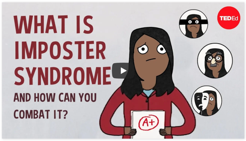 """Screenshot of YouTube Video titled, """"What is imposter syndrome and how can you combat it? by Elizabeth Cox,"""""""